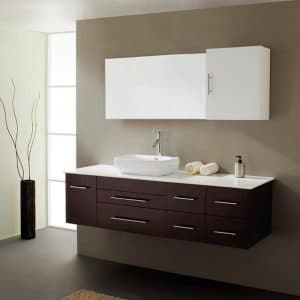 virtu usa sustainable bathroom vanities on elemental green