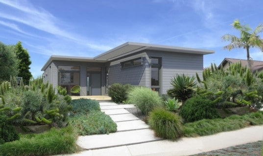Prefab two bedroom home for narrow lots.