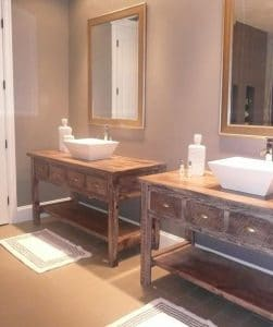 woodland creek Reclaimed-Wood-Vanity-with-Shelf, top 10 bathroom trends given a green makeover on elemental green