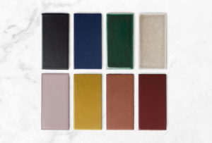 Shavonda Gardner Palette Fireclay Tile Vintage Leather, Antique, Mustard Seed, Painted Sky, Cardamom, Evergreen, Blue Velvet, and Basalt