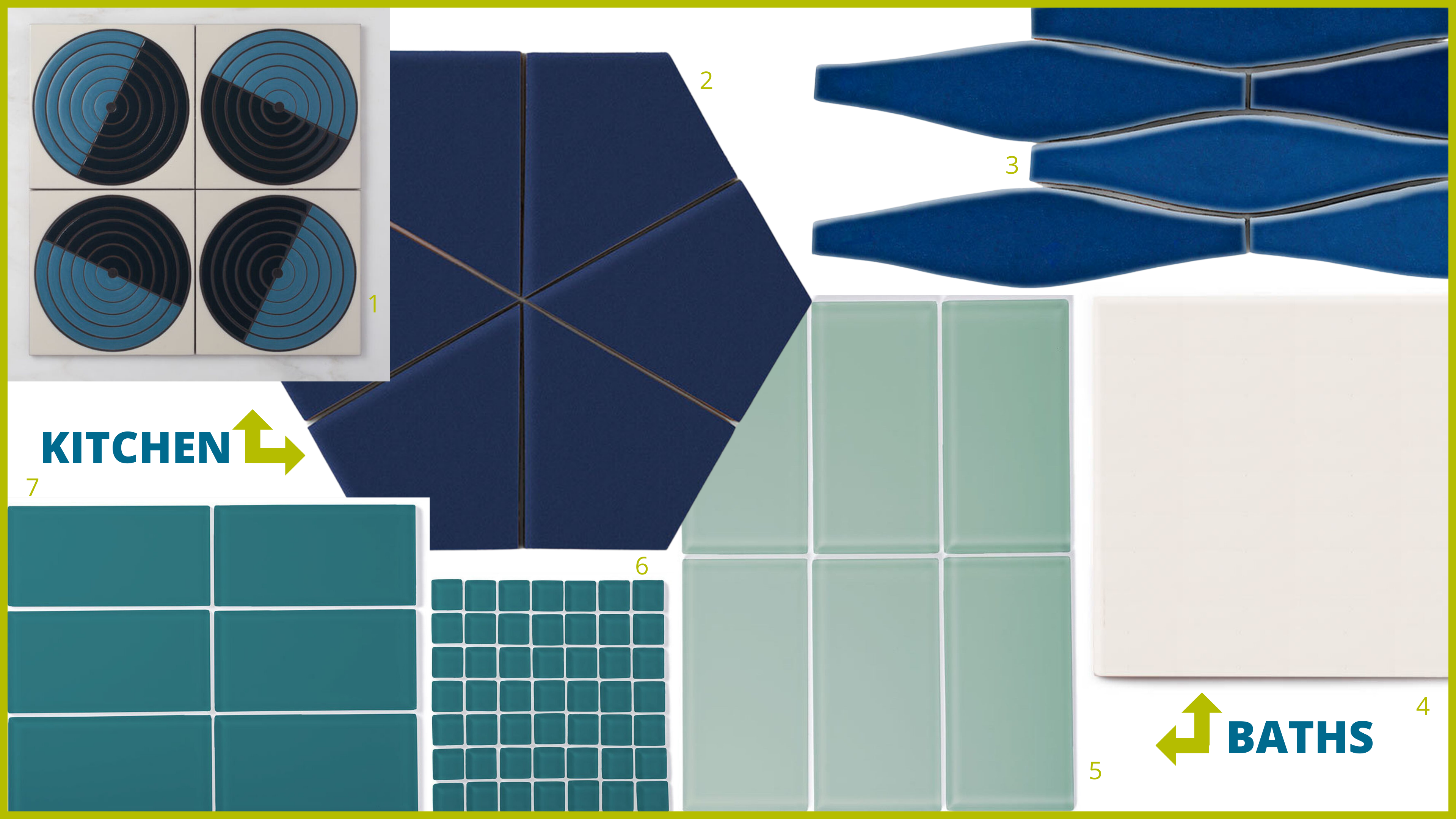 blue and white tiles, Fireclay Tile handmade tiles, Maze in Warm otif, Hexite, Wave, Tusk, Kingfisher, Magpie mosaic